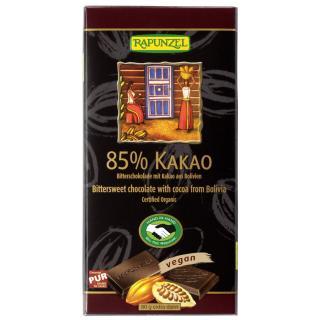 Bitterschokolade 85 % Kakao,  80g